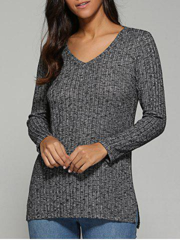 Sale V Neck Ribbed Knitted Sweater GRAY XL
