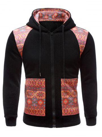 Fashion Geometric Print Splicing Long Sleeve Zip-Up Hoodie