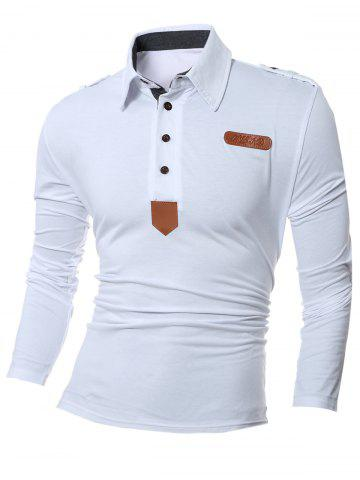 Patch Design Polo Collar Long Sleeve T-Shirt - White - L