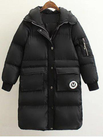 Unique Patched Puffer Coat wtih Hood