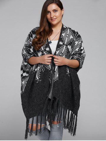 Affordable Fringed Plus Size Print Cardigan