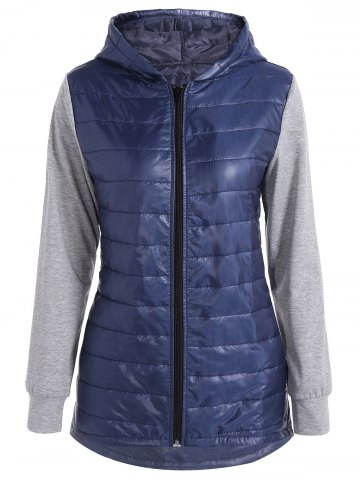 Discount Hooded Padded Jacket DEEP BLUE XL