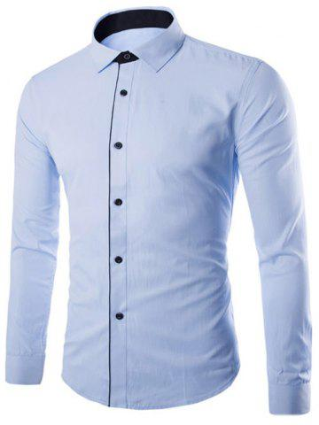 Color Block Button Design Long Sleeve Shirt - Light Blue - M
