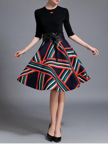 Buy Knitted Top and Stripe Flare Skirt Set