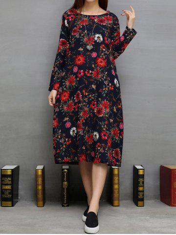 Affordable Floral Print Loose-Fitting Dress