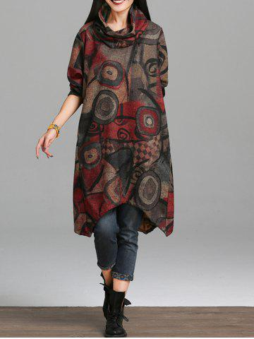 Shops Asymmetrical Retro Print Dress DEEP RED 2XL