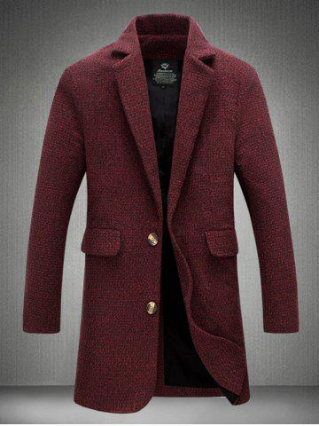 Sale Notch Lapel Sleeve Buttons Single Breasted Texture Coat