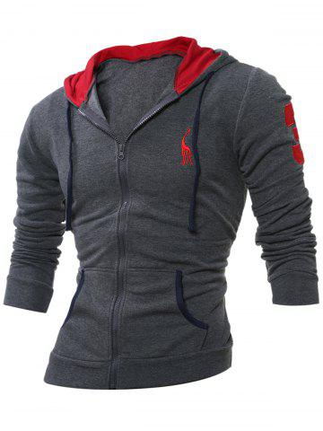 Fashion Embroidery Zip Up Long Sleeve Hoodie