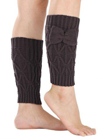 Chaud Petit bowknot Rhombus Crochet Knit Boot Cuffs