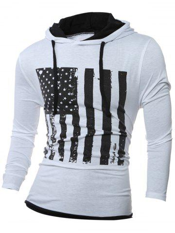 Fancy Stars and Stripes Pattern Long Sleeve Drawstring Hoodie WHITE L