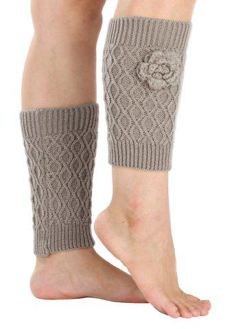 Warm Flower Embellished Rhombus Mesh Crochet Knit Boot Cuffs - Light Gray - One Size