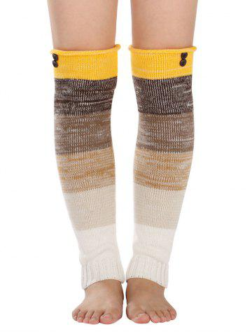 Warm Buttons Color Block Striped Knit Leg Warmers - Yellow