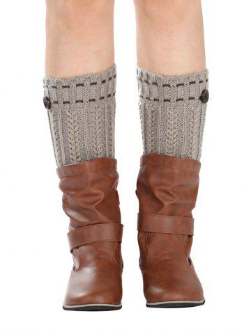 Warm Button Embellished Wheat Crochet Knit Boot Cuffs - Light Gray - One Size