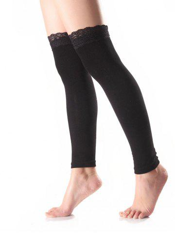 Warm Lace Edge Embellished Leg Warmers - BLACK