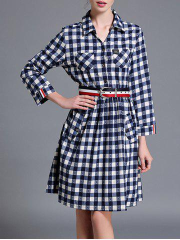 Outfit Checkered Long Sleeve Shirt A Line Dress