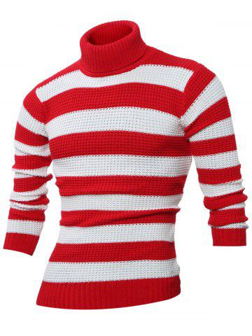 Turtle Neck Long Sleeves Striped Sweater - RED 3XL