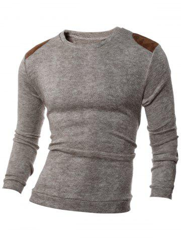 Latest Shoulder Patch Design Round Neck Ribbed Sweater