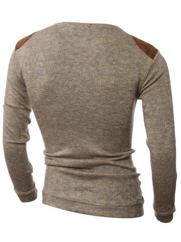 Outfit Shoulder Patch Design Round Neck Ribbed Sweater - M BROWN Mobile