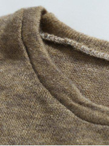 Online Shoulder Patch Design Round Neck Ribbed Sweater - M BROWN Mobile