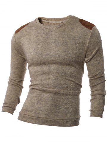 Shop Shoulder Patch Design Round Neck Ribbed Sweater - M BROWN Mobile