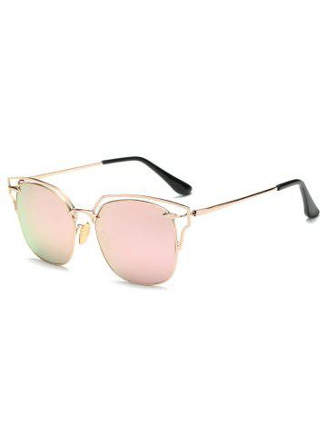 Cool Hollow Out Irregular Square Mirror Sunglasses - PINK
