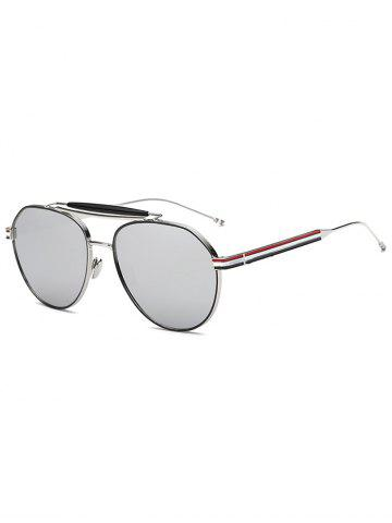 Sale Cool Crossbar Striped Leg Pilot Mirror Sunglasses