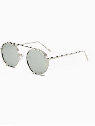 Online Driving Chunky Frame Crossbar Metal Oval Mirror Sunglasses