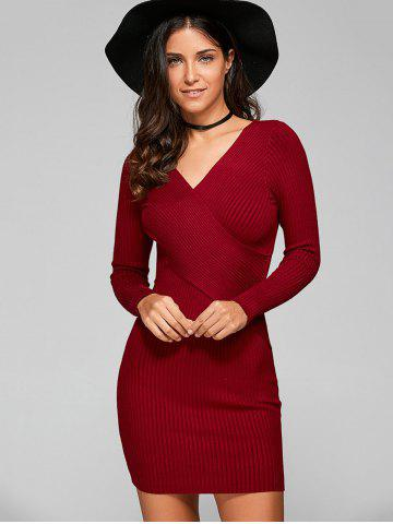Outfits Long Sleeve Knit Ribbed Bodycon Dress WINE RED ONE SIZE