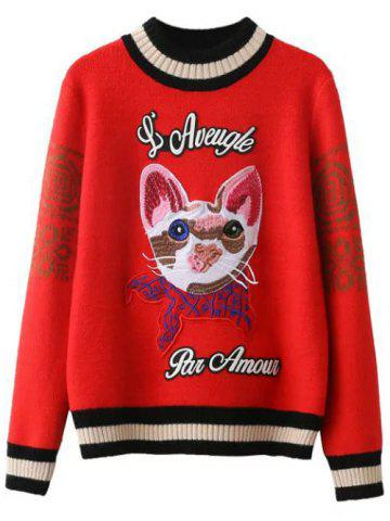 Shops Kitten Embroidered Ribbed Sweater RED ONE SIZE