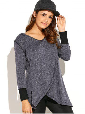 Hot Asymmetric Thick Loose Hoodie DEEP GRAY XL