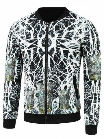 Trendy Abstract Print Side Pocket Zip Up Jacket