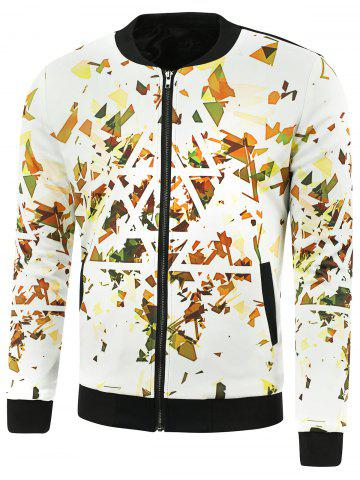 Unique Stand Collar Triangle Print Zip Up Jacket WHITE 5XL