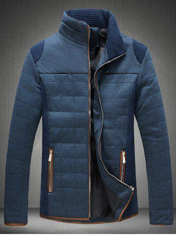 Cheap Trimmed Zippered Stand Collar Quilted Jacket BLUE 3XL