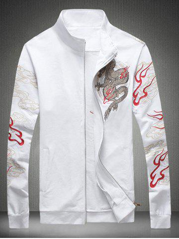 Unique Embroidered Totem Printed Zip Up Jacket WHITE 5XL