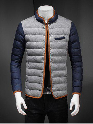 Chic Constrast Piping Stand Collar Zip Up Quilted Jacket