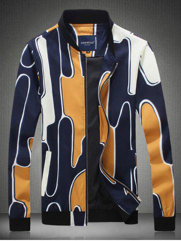 Sale Abstract Printed Stand Collar Zip Up Jacket YELLOW 5XL