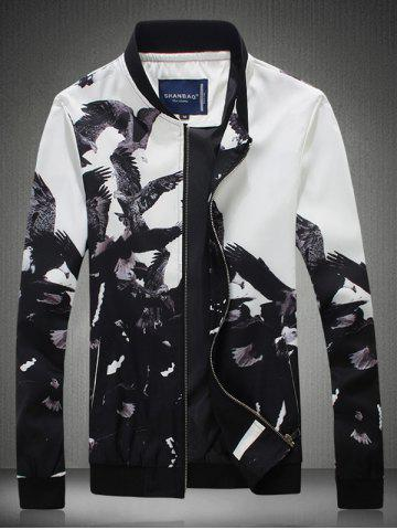 Shop Bird Printed Stand Collar Zip Up Jacket BLACK 2XL