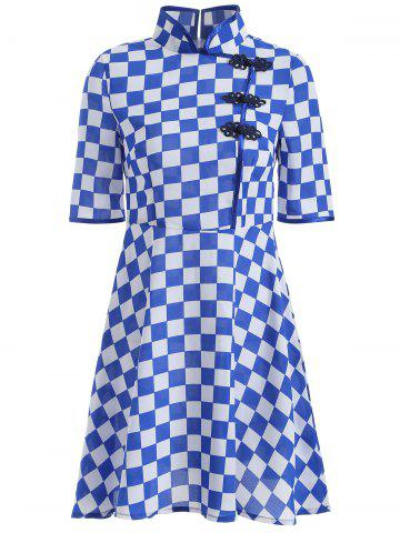 Hot Gingham Fit and Flare Qipao Dress BLUE 4XL