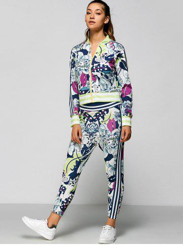 Zip Up Printed Top with Ankle Pencil Pants