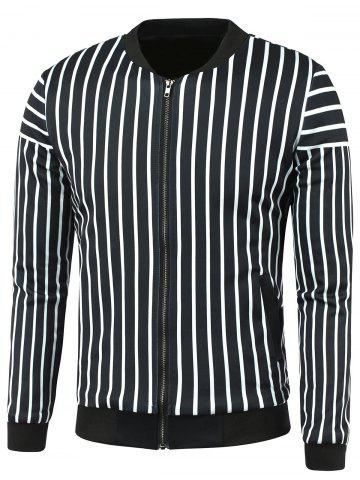 Latest Stand Collar Zip Up Striped Jacket BLACK 4XL