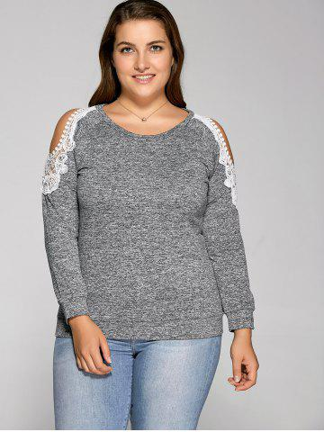 Fancy Cold Shoulder Pullover Sweatshirt GRAY 3XL
