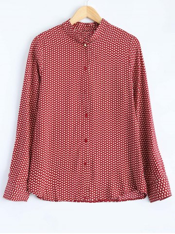 Hot Leaf Print Button Up Shirt RED S