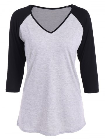 Store Raglan Sleeve V Neck T Shirt LIGHT GRAY XL