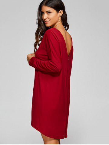 Outfit Back Zip High Low Dress RED XL