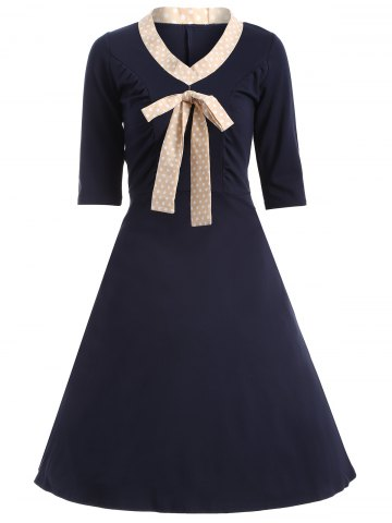 Shops Half Sleeve Bowknot Vintage Dress PURPLISH BLUE 2XL
