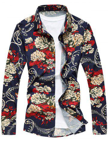 Affordable All-Over Flower Print Long Sleeve Shirt FLORAL L
