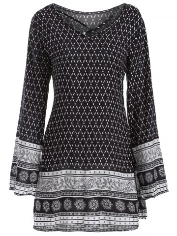 Best Long Sleeve Indian Print Dress BLACK XL