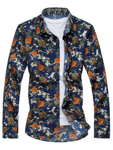Store Vintage All-Over Flower Print Long Sleeve Shirt FLORAL 7XL
