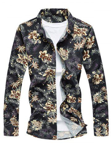 Best Vintage Flower Print Long Sleeve Shirt