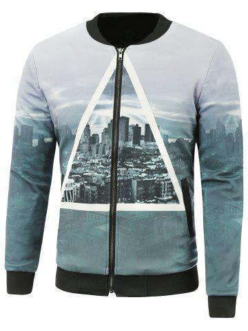 Outfits Zip-Up City Printed Jacket GRAY 4XL